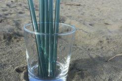 Teal Glass Straws